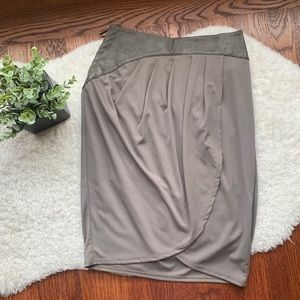 Grey Faux Leather Chiffon tulip Wrap skirt size 0